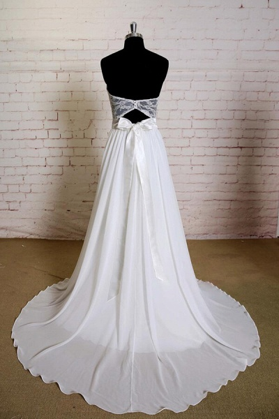 Strapless Lace Chiffon A-line Wedding Dress_3