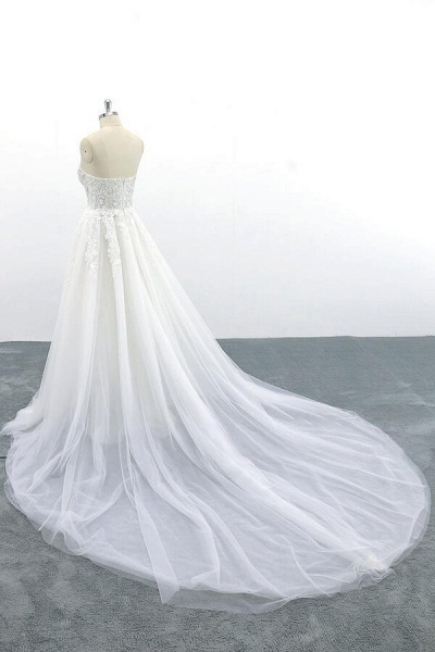 Appliques Strapless Tulle A-line Wedding Dress_6