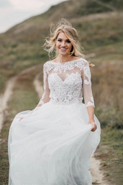 Graceful Illusion Tulle A-line Wedding Dress_1