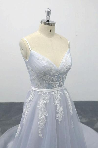Applique Tulle Spaghetti Strap A-line Wedding Dress_6
