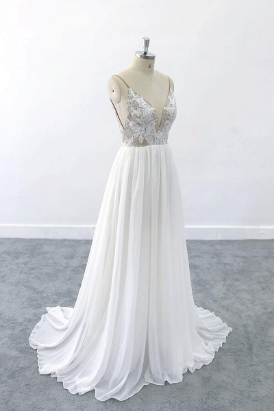 Graceful V-neck Lace Chiffon A-line Wedding Dress_4