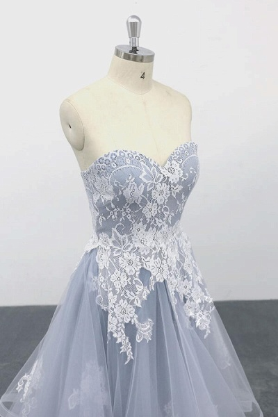 Amazing Strapless Lace Tulle A-line Wedding Dress_6