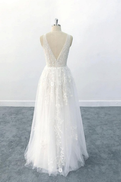 Elegant V-neck Appliques Tulle A-line Wedding Dress_3
