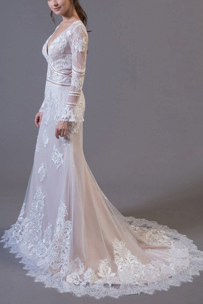 Long Sleeve Appliques Tulle Sheath Wedding Dress_4