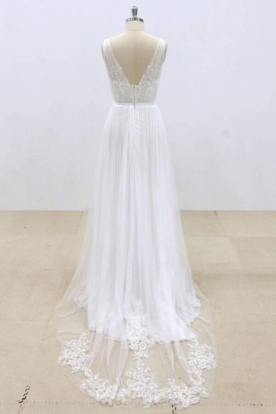 Amazing Ruffle Tulle Appliques A-line Wedding Dress_3