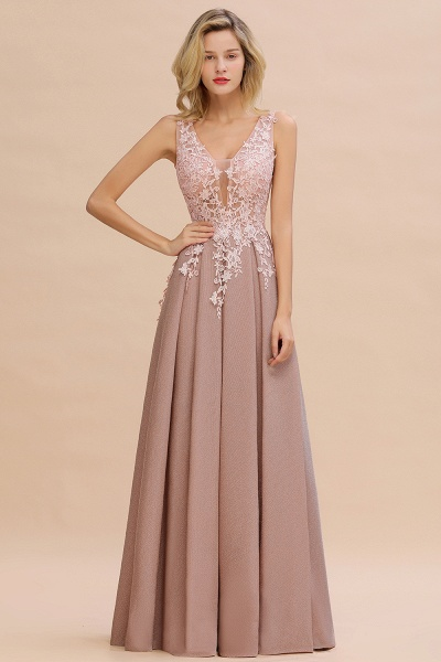 Attractive V-neck Lace A-line Evening Dress_15