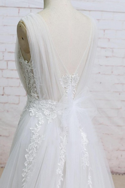 Appliques Tulle Ruffle A-line Wedding Dress_5