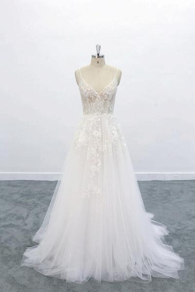 Graceful Appliques Tulle A-line Wedding Dress_1