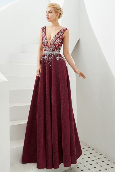Marvelous V-neck Sequined A-line Prom Dress_9
