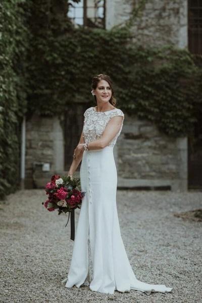 Cap Sleeve Open Back Lace Sheath Wedding Dress_5