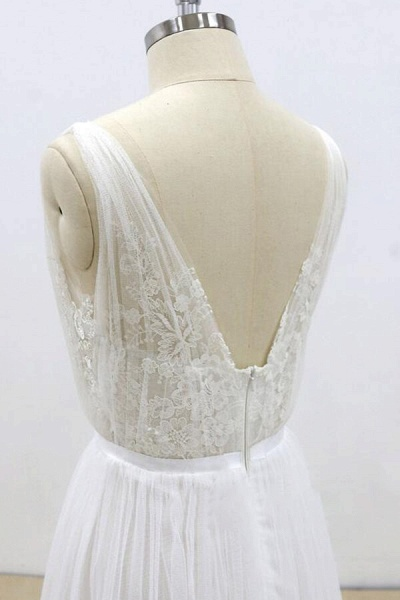 Amazing Ruffle Tulle Appliques A-line Wedding Dress_9
