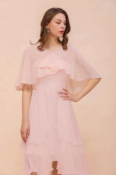 BM1086 Pink Ruffle Chiffon Special Occasions Wraps
