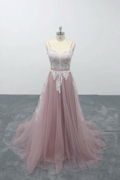 Lace Tulle Spaghetti Strap A-line Wedding Dress_1