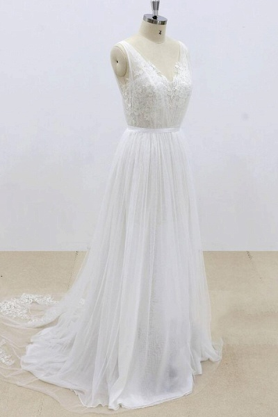 Amazing Ruffle Tulle Appliques A-line Wedding Dress_4