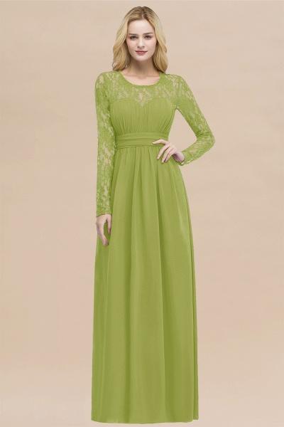 Elegant A-Line Chiffon Jewel Long Sleeves Ruffles Floor-Length Bridesmaid Dresses_34