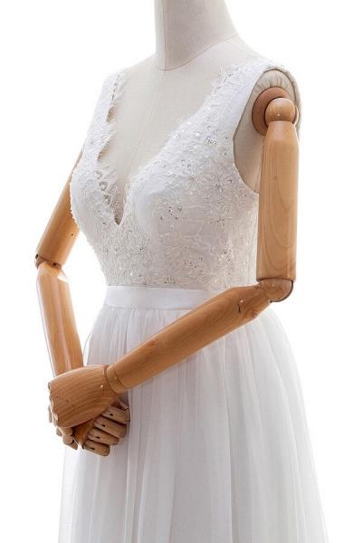 Awesome V-neck Lace Chiffon A-line Wedding Dress_5