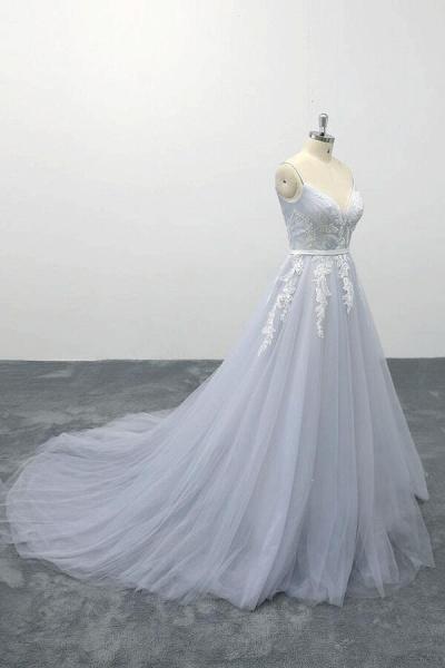 Applique Tulle Spaghetti Strap A-line Wedding Dress_5
