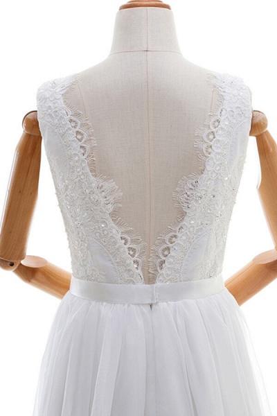 Awesome V-neck Lace Chiffon A-line Wedding Dress_6