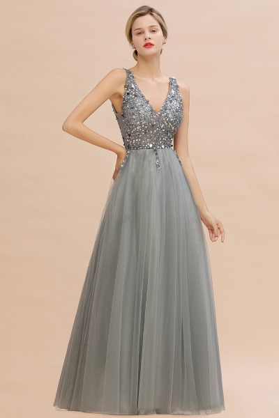 Fabulous V-neck Tulle A-line Prom Dress_10