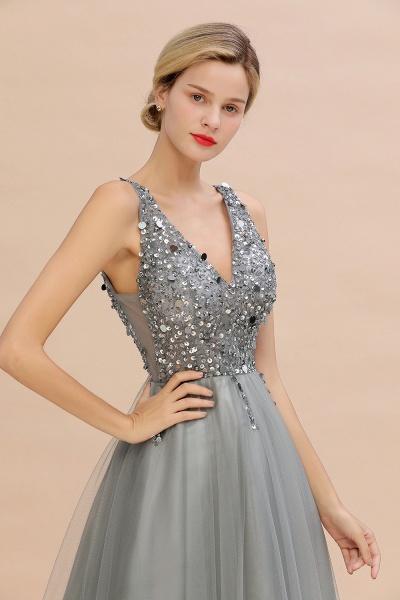 Fabulous V-neck Tulle A-line Prom Dress_16
