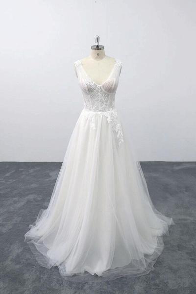 Lace-up V-neck Appliques Tulle A-line Wedding Dress_1