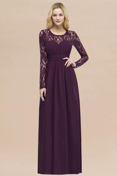 Elegant A-Line Chiffon Jewel Long Sleeves Ruffles Floor-Length Bridesmaid Dresses_20
