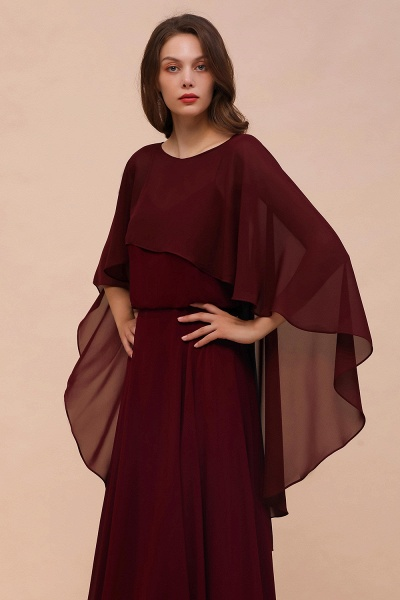 BM1087 Chiffon Burgundy Long Special Occasions Wrap_4