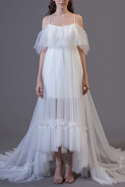 Awesome Cold-shoulder Tulle High-low Wedding Dress_1