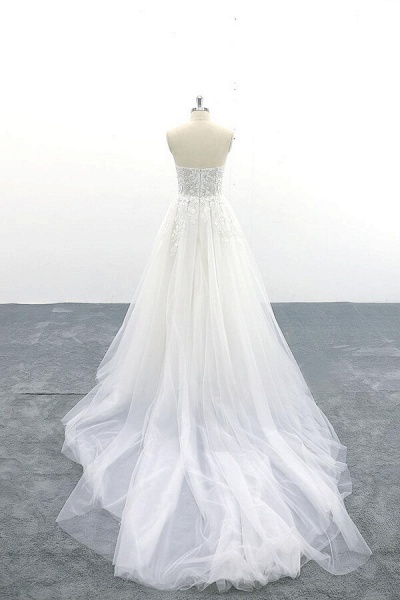 Appliques Strapless Tulle A-line Wedding Dress_3