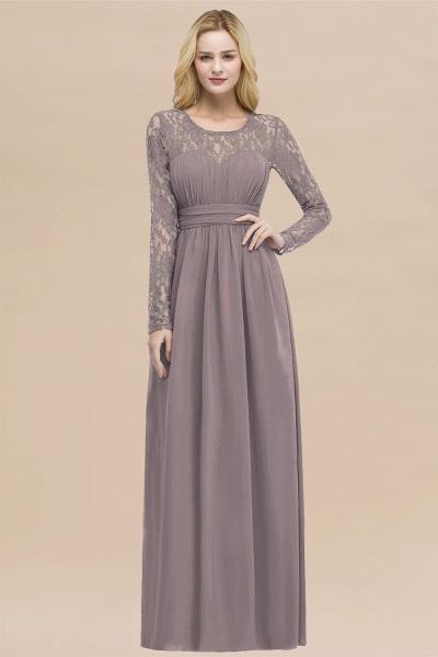 Elegant A-Line Chiffon Jewel Long Sleeves Ruffles Floor-Length Bridesmaid Dresses_37