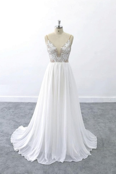 Graceful V-neck Lace Chiffon A-line Wedding Dress_1