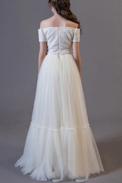 Off Shoulder Lace Tulle A-line Wedding Dress_3