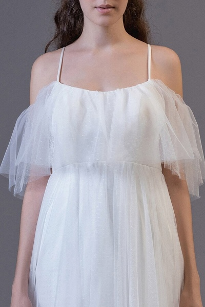 Awesome Cold-shoulder Tulle High-low Wedding Dress_5