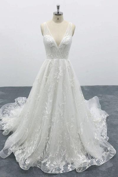 Elegant V-neck Appliques Tulle A-line Wedding Dress_1