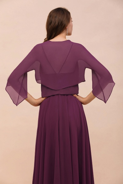 BM1089 3/4 Sleeves Grape Chiffon Special Occasions Wrap_9