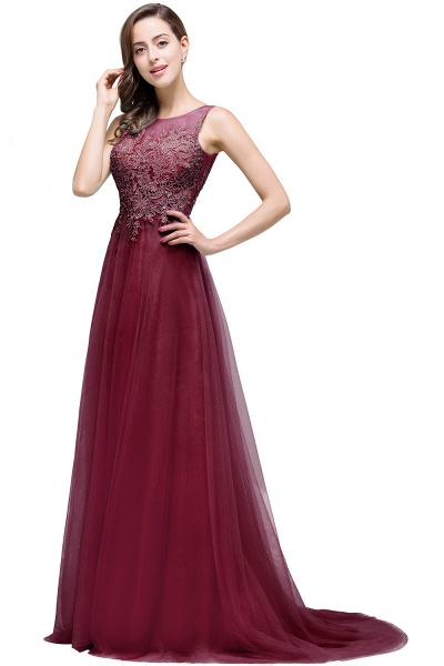 A-line Tulle Appliques Court Train Evening Dress_5