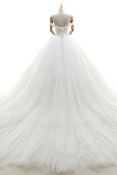 Lace-up Off Shoulder Ruffle Tulle Wedding Dress_3