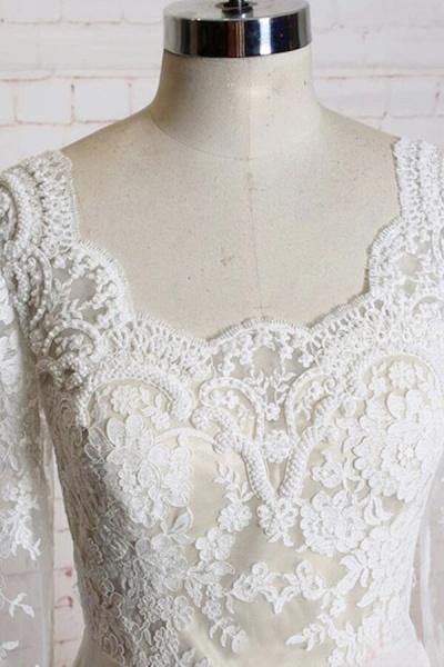 Appliques Long Sleeve Chiffon A-line Wedding Dress_4