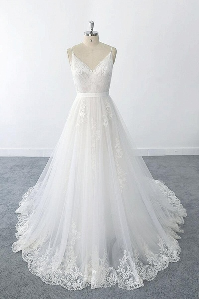 Amazing Ruffle Appliques Tulle A-line Wedding Dress_1