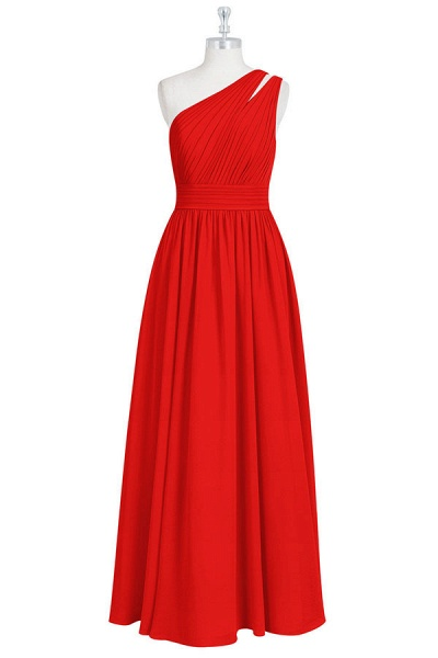 Ruffle One Shoulder Chiffon A-line Bridesmaid Dress