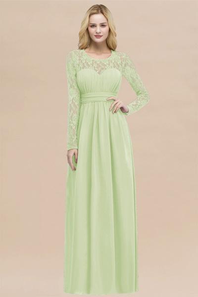 Elegant A-Line Chiffon Jewel Long Sleeves Ruffles Floor-Length Bridesmaid Dresses_35