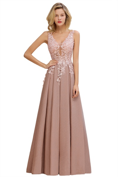 Attractive V-neck Lace A-line Evening Dress_12