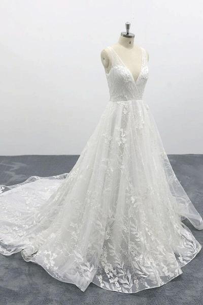 Elegant V-neck Appliques Tulle A-line Wedding Dress_5