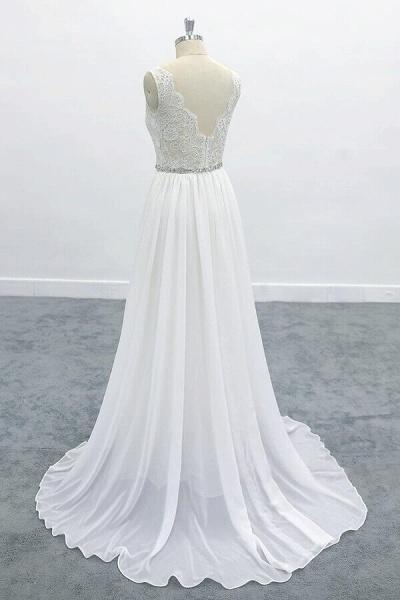 Awesome V-neck A-line Lace Chiffon Wedding Dress_5