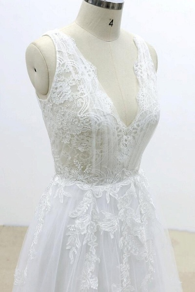 Ruffle V-neck Appliques Tulle A-line Wedding Dress_6