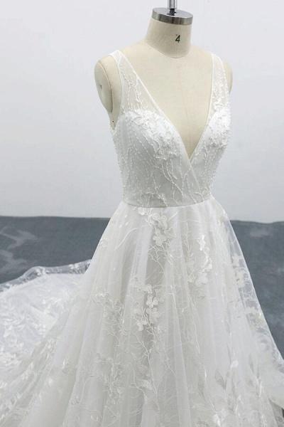 Elegant V-neck Appliques Tulle A-line Wedding Dress_7