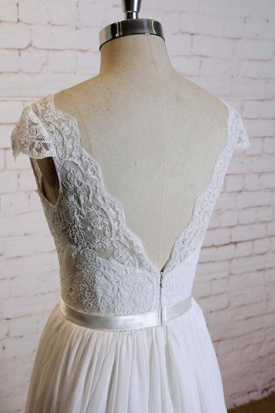 Cap Sleeve A-line Lace Chiffon Wedding Dress_6