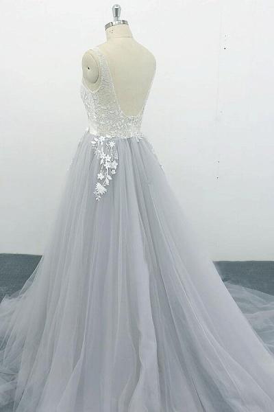 Square Neck Appliques Tulle A-line Wedding Dress_5