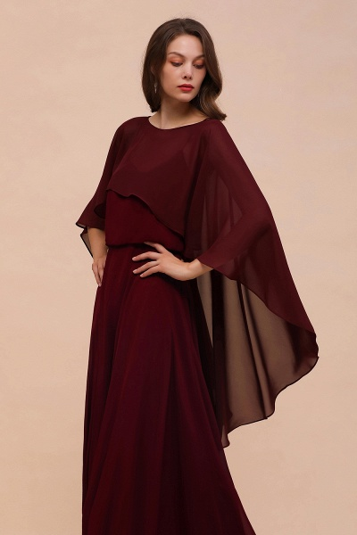 BM1087 Chiffon Burgundy Long Special Occasions Wrap_5