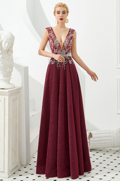 Marvelous V-neck Sequined A-line Prom Dress_2